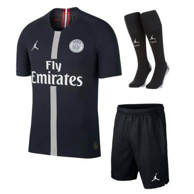 PSG X Air Jordan Black Whole Kit Soccer Jersey 2018-2019