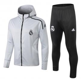 Chándal Real Madrid 2018/2019 Con Capucha Gris Plata