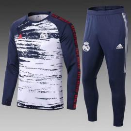 Sudadera De Calentamiento Real Madrid 2020/2021 Blanco Marino