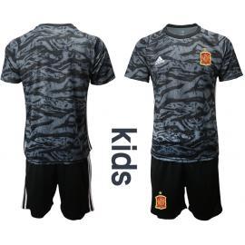 Camiseta España Portero en negro2020 Edición Copa De Europa  Nino