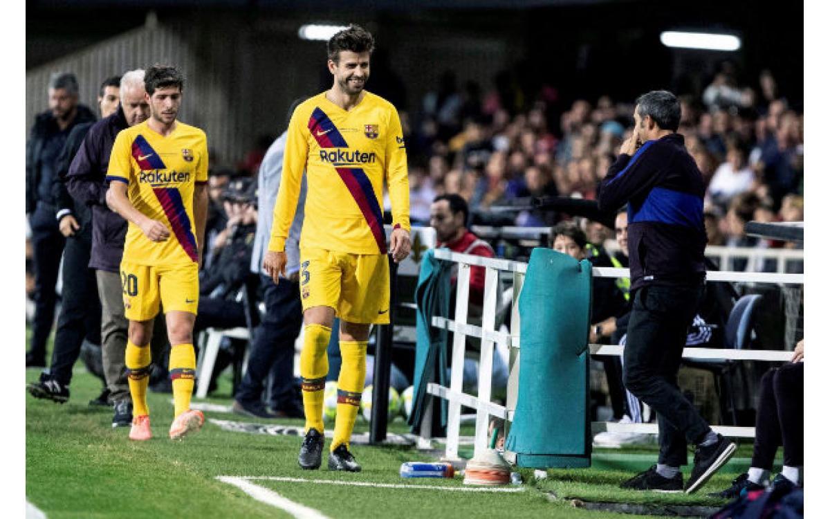 Piqué, el más ovacionado en el amistoso del Barcelona en Cartagena